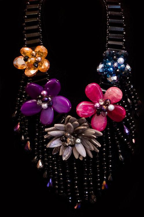 Multi Color Five Flower Necklace w/earrings