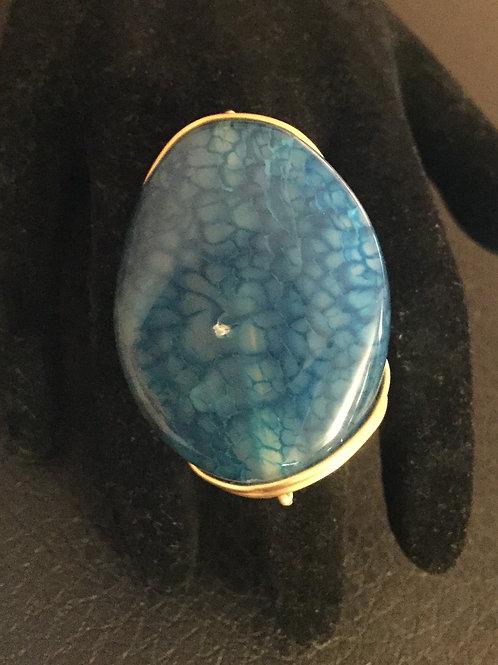 Blue Polished Stone Ring
