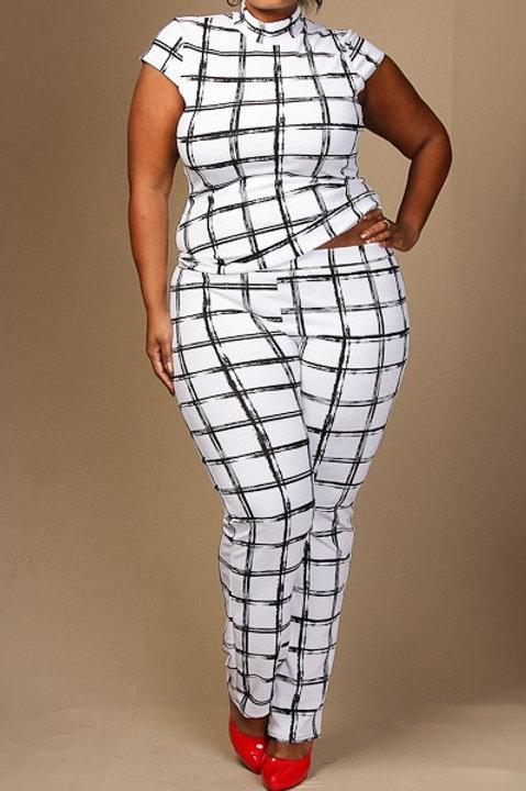 Checkered Print Short Sleeve Tops and Pants Set
