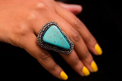 Turquoise Stone Ring with Beading Around