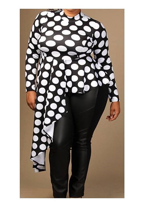 Black and White Polka Dot Oneside Drape