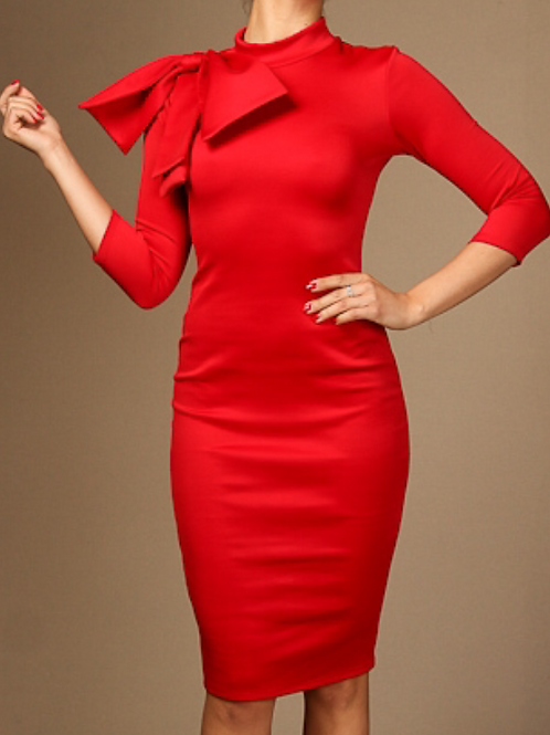 Red Bow Mock Neck Dress