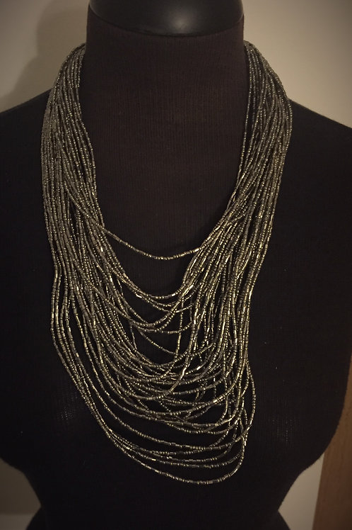 Multi Layered Necklace Pewter