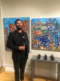 Samuel Benjamin Harris with his energetic exciting artwork.