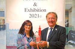 Barbara Marshfield presented by Cllr Robert Dryden with her Cambridge Invitational Award