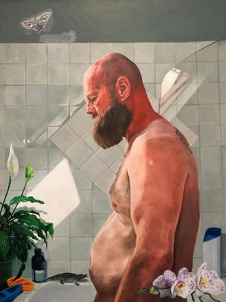 Self Portrait pushing out gut. £5,000 Geoffrey Harrison