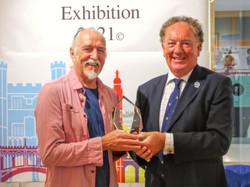 Michael Norcross presented with his Cambridge Invitational Art Award.