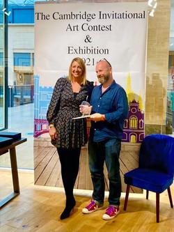Geoffrey Harrison collecting The Cass Art Award presented by Stacy Bodkin of Castle Fine Art