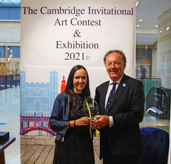 Clare Millen presented with The Cambridge Invitational Award by Cllr Robert Dryden