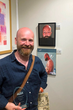 Geoffrey Harrison with his two stunning and emotional lockdown portraits