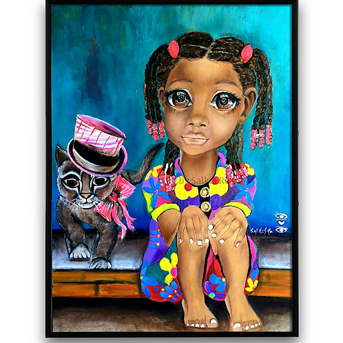 """""""Ms Kitty Says"""":African Girl African Art, African Portrait Painti"""