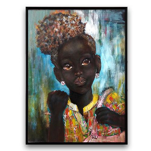 """""""La Negra"""":African Girl African Art, African Portrait Painting"""