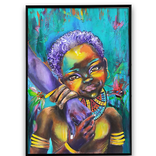 """A Mother's Love"":African Girl African Art, African Portrait Painting"