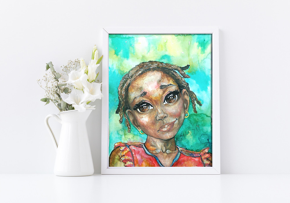 watercolor portrait painting black art