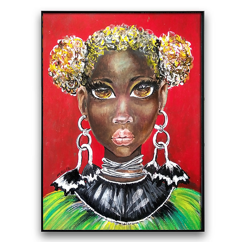 """Seeing Things"":African Girl African Art, African Portrait Painting"