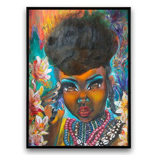 """""""Yama"""":African Girl African Art, African Portrait Painting, African Art Portrait"""