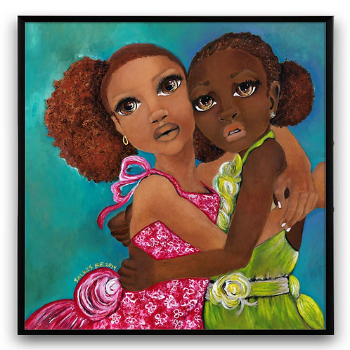 """I Am Here For You"":African Girl African Art, African Portrait Painting"