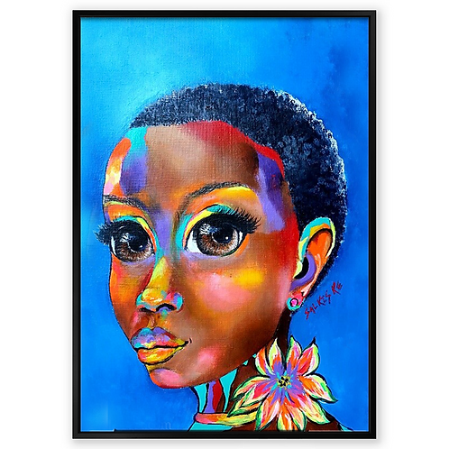 """Im Thinking of You"":African Girl African Art, African Portrait Painting"