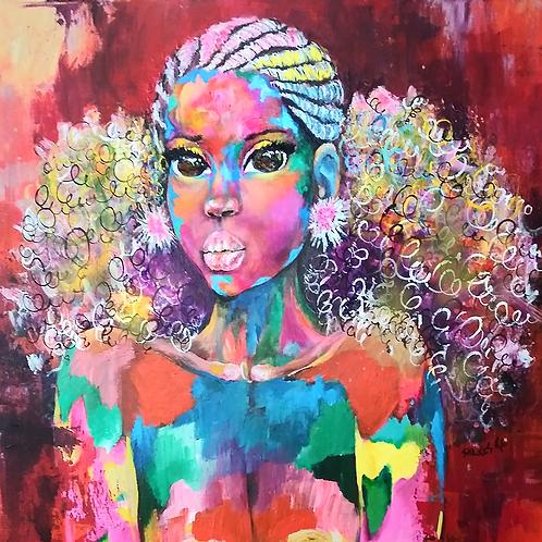 African Girl African Art, African Portrait Painting,  African Art