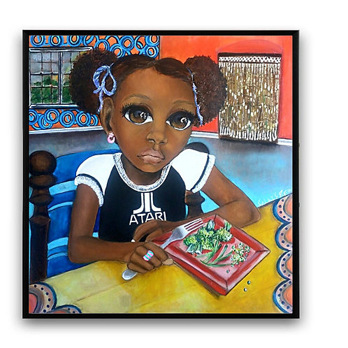"""""""Do I Have Too?"""":African Girl African Art, African Portrait Painting"""