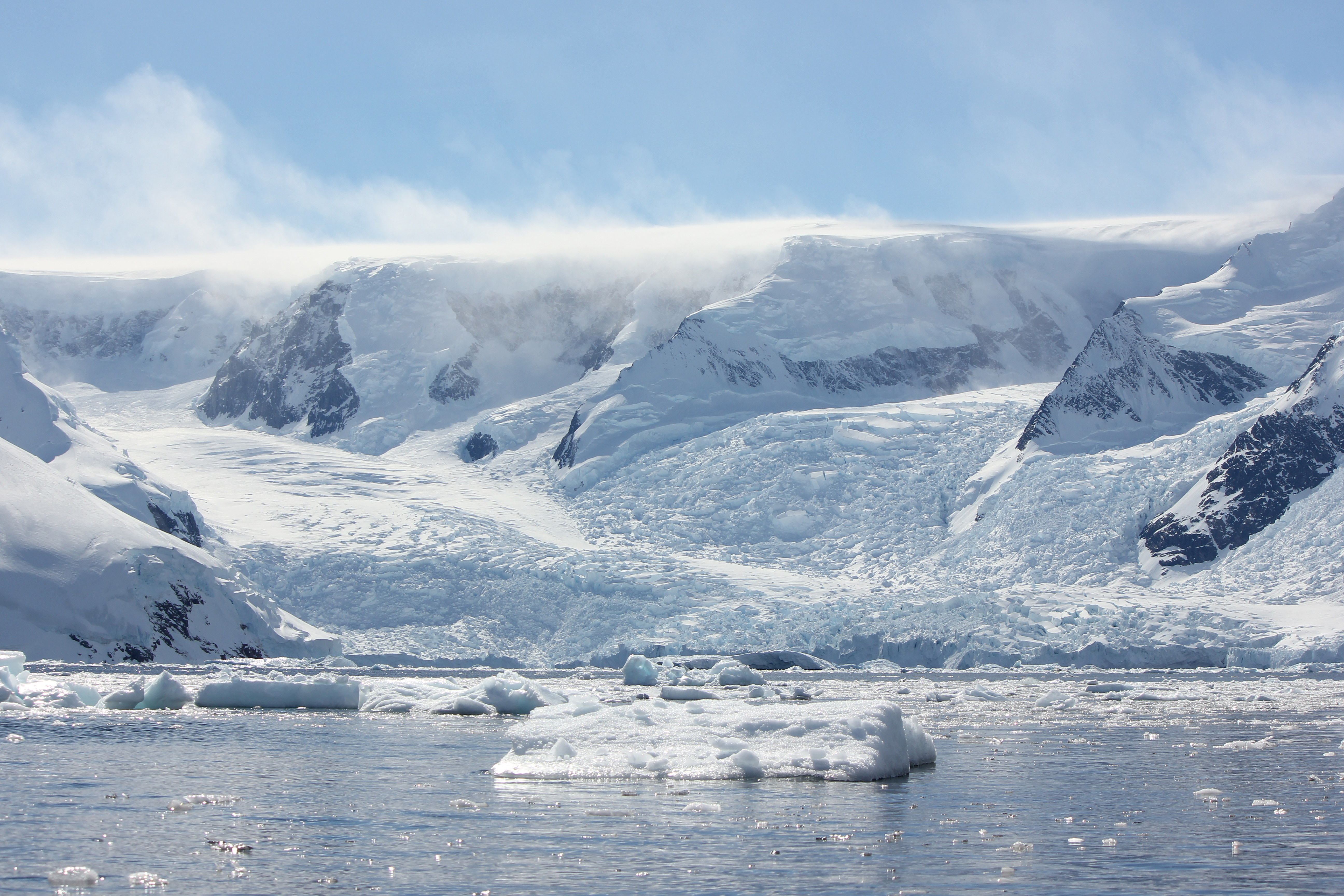 Sea Ice in Front of Two Converging Glaciers