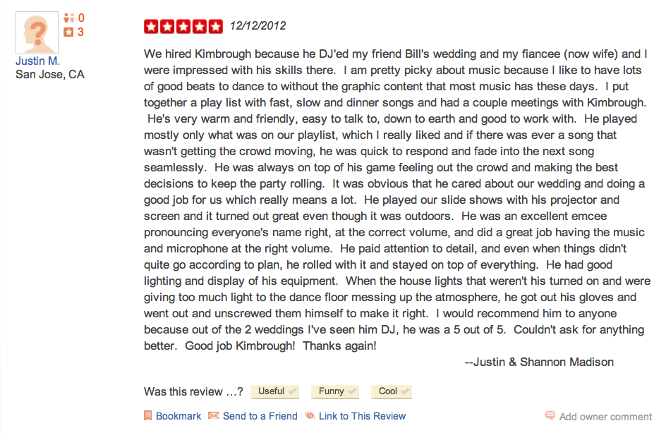 Shannon & Justin Madison-5-Star-DJ-Kimbrough-Yelp-Review
