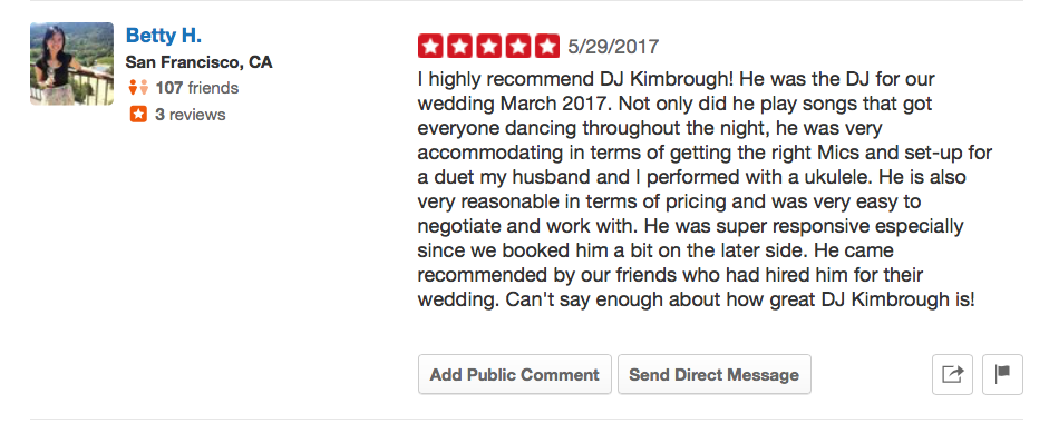 Betty Ho DJ Kimbrough 5 Star Yelp Review