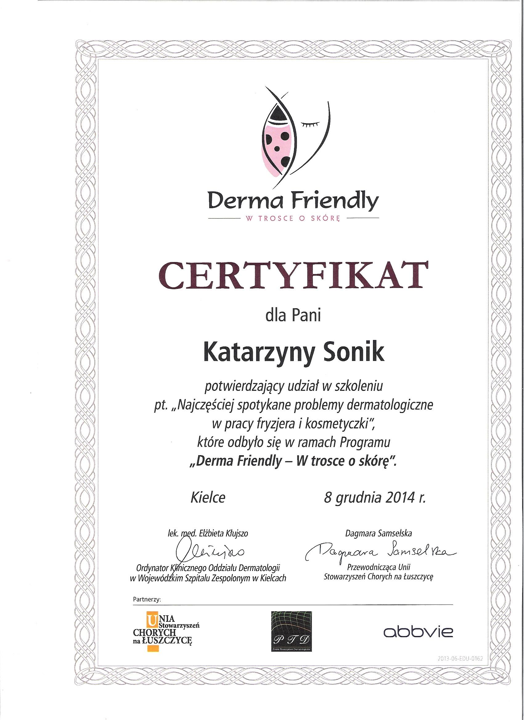 certyfikat dla katarzyny sonik