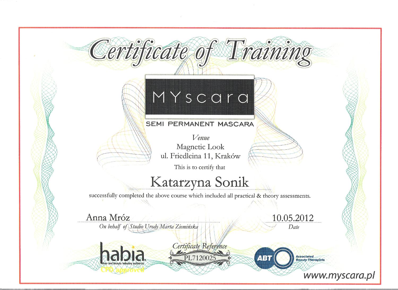 certyfikat myscara