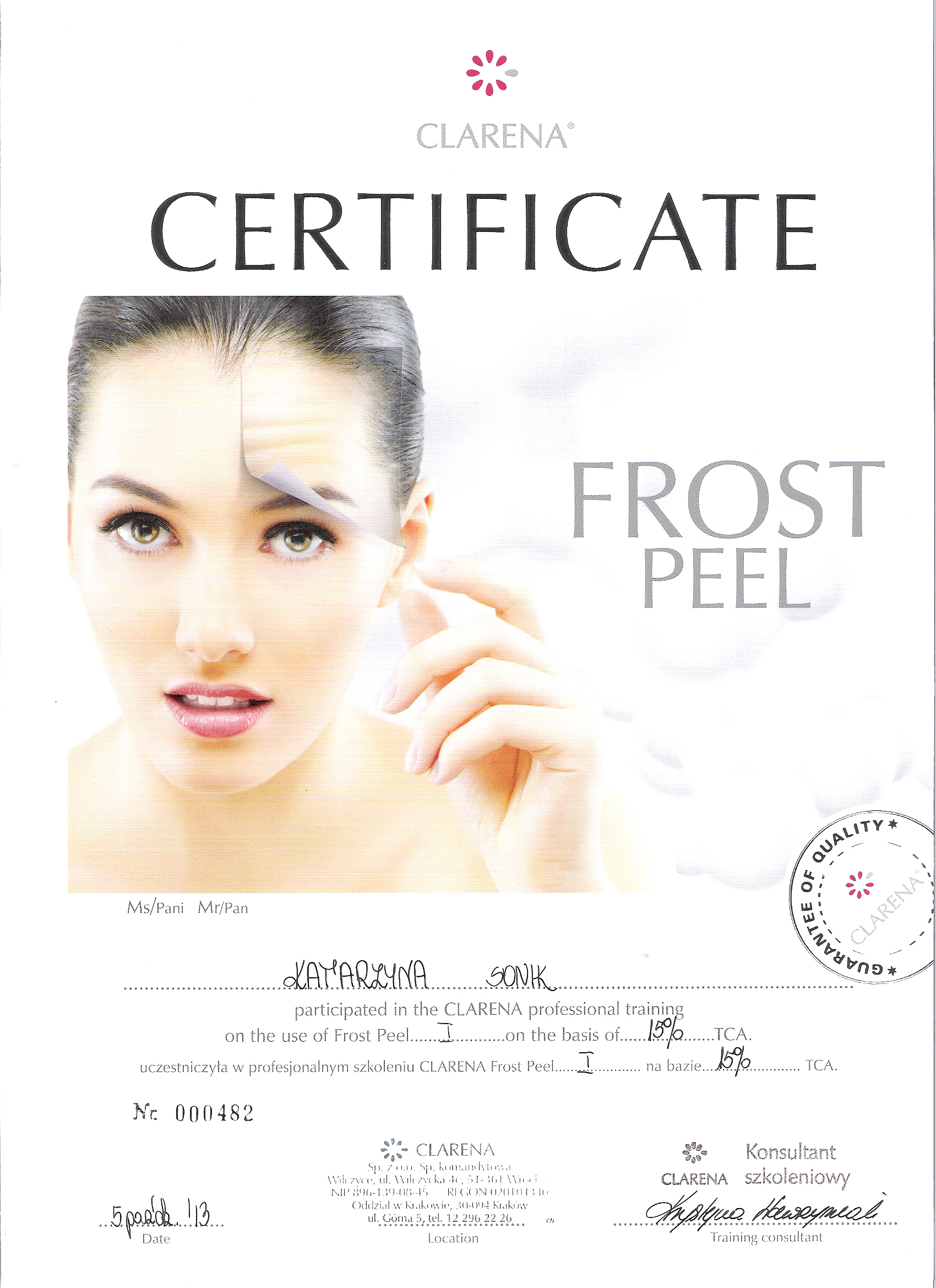certyfikat frost peel