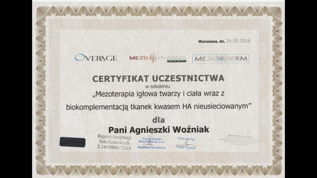 Agnieszka Wozniak Certyfikat 2