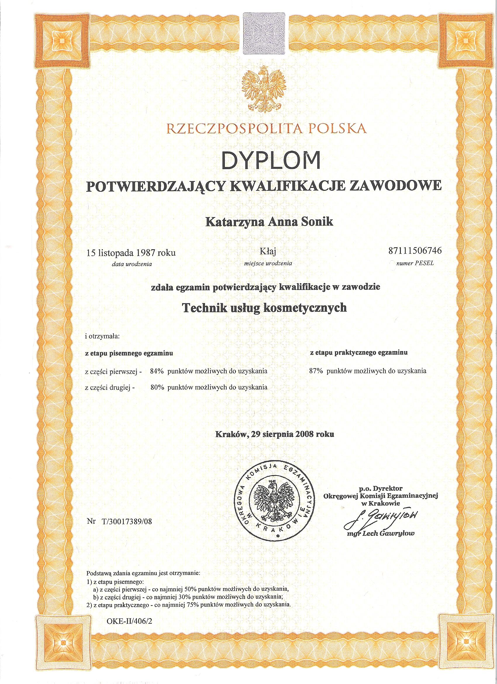 certyfikat uslug kosmetycznych
