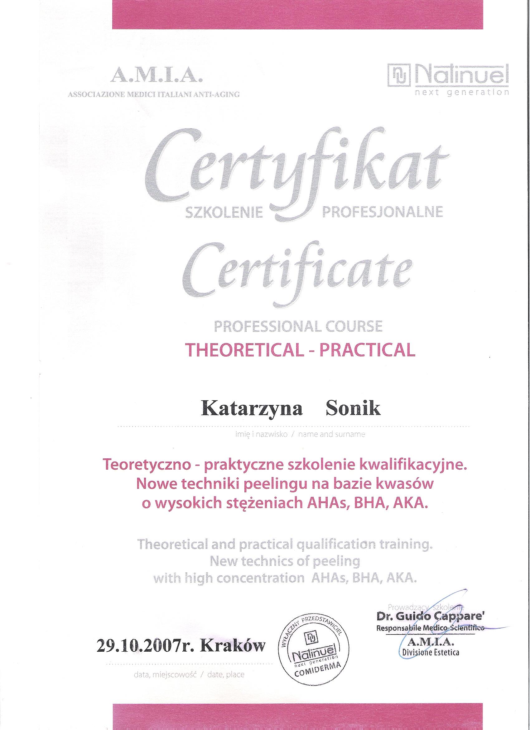 certyfikat katarzyna sonik 2
