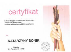 certyfikat katarzyna sonik manicure