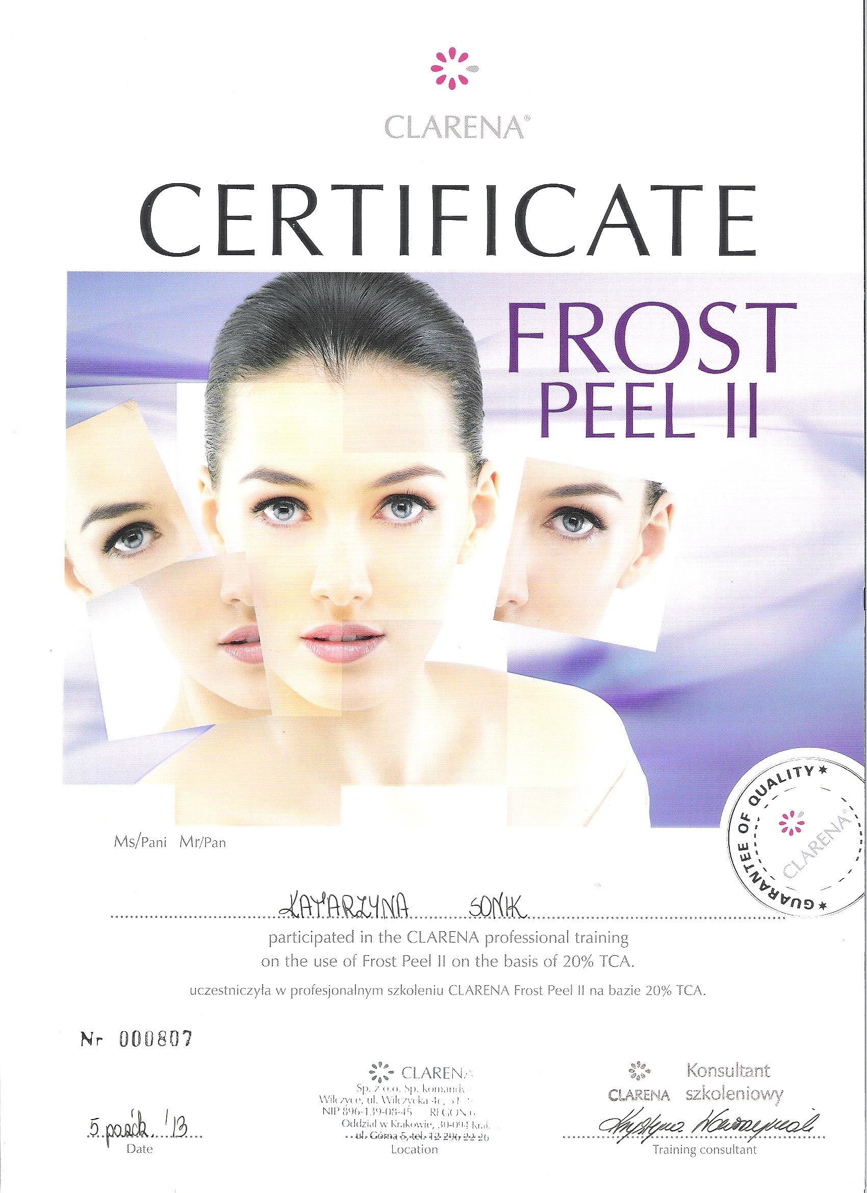 certyfikat frost peel 2