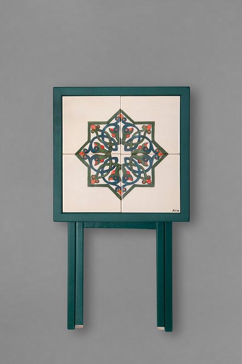 square ceramic & wood foldable table d3