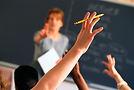 A female teacher teaching