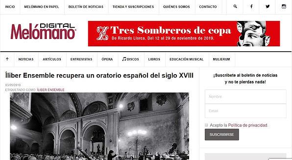 Íliber Ensemble recupera un oratorio español del siglo XVIII | Melómano Digital