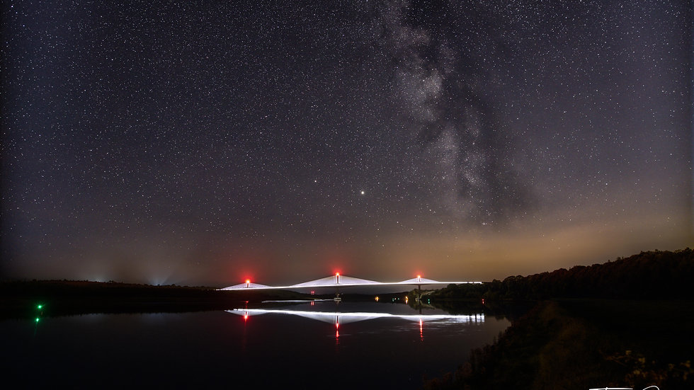 Milky-way over the Rose Fitzgerald Kennedy Bridge Landscape