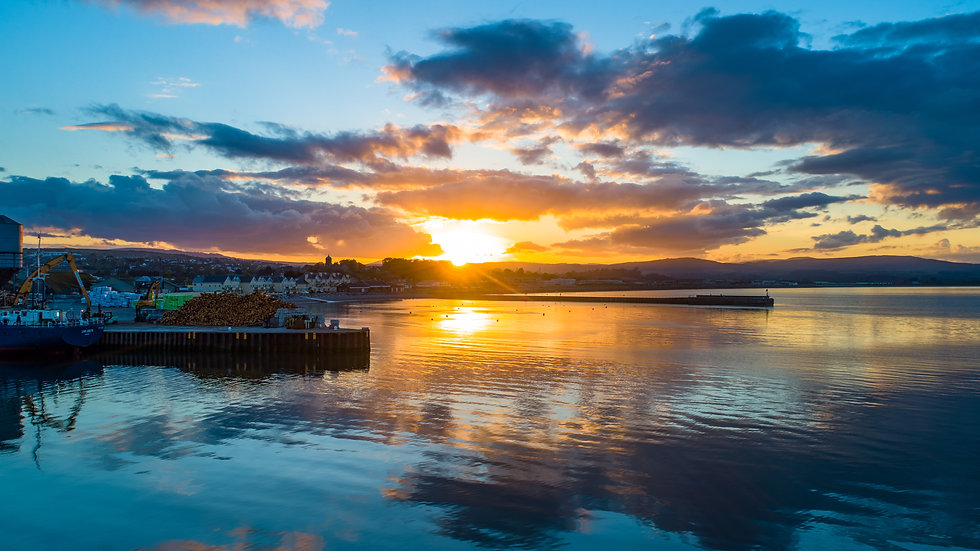 Summer sunset over Wicklow Harbour