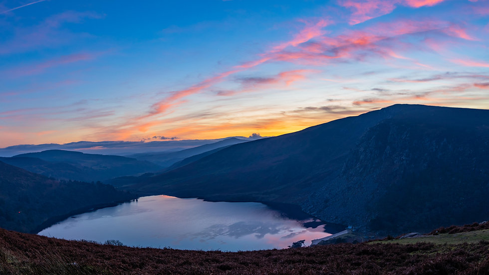 Lough Tay sunset panoramic new years day 2020