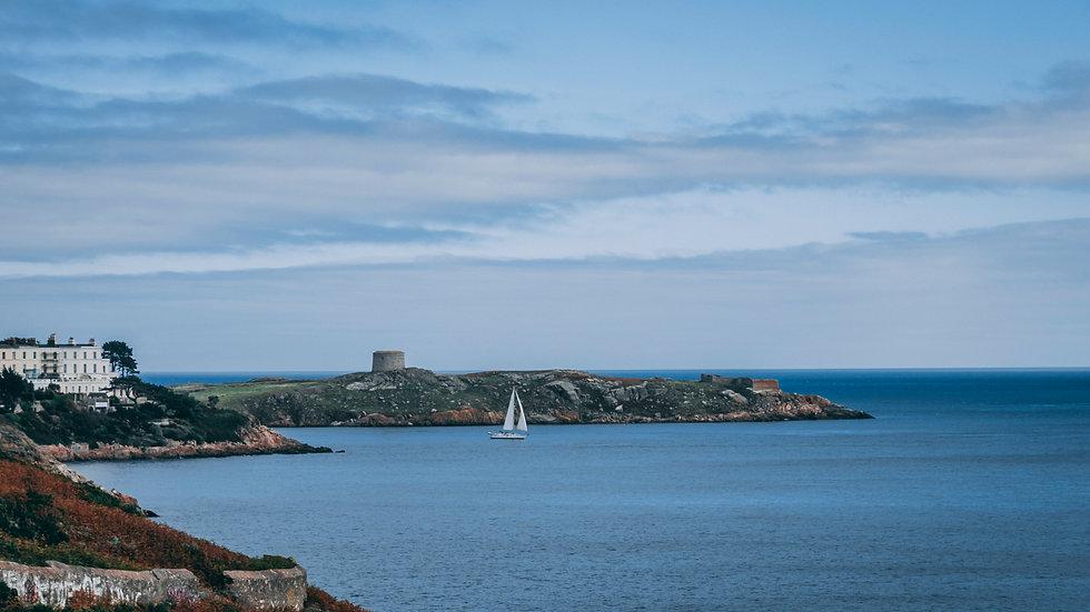 Boat Sailing by Dalkey Island