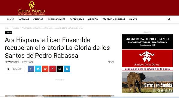 Ars Hispana e Íliber Ensemble recuperan el oratorio La gloria de los santos de Pedro Rabassa