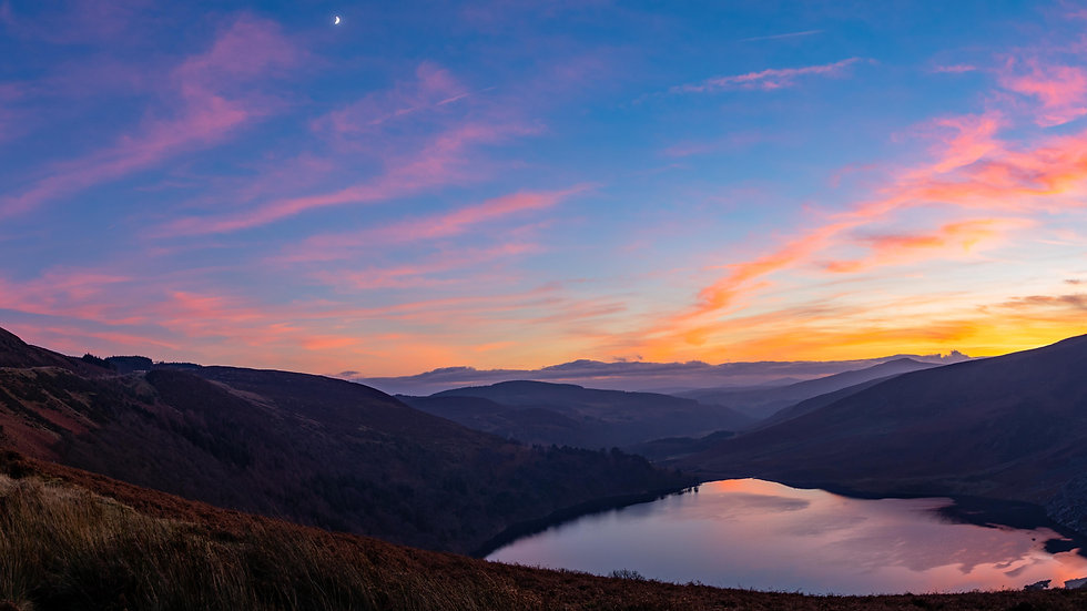 Lough Tay & The Moon New Years day 2020 sunset panoramic