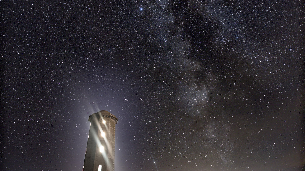 Milky way over Wicklow Head Old Lighthouse