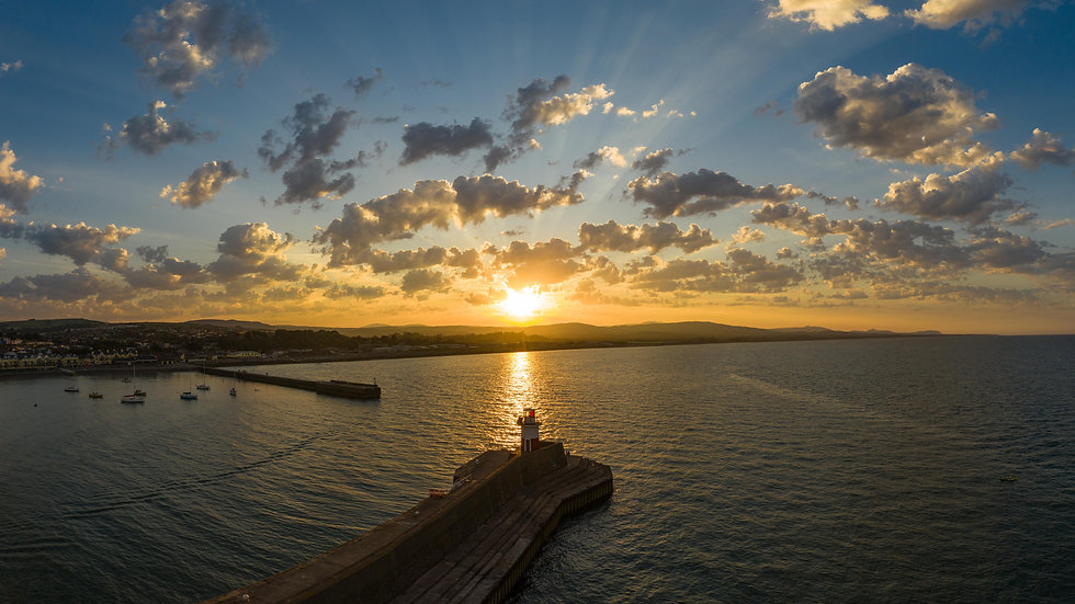 Aerial Panoramic Sunset over Wicklow Pier