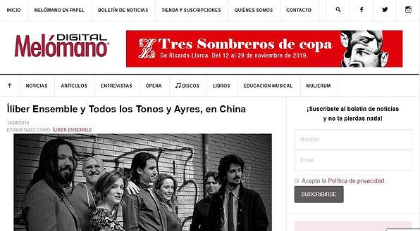 Íliber Ensemble y Todos los Tonos y Ayres, en China | Melómano Digital