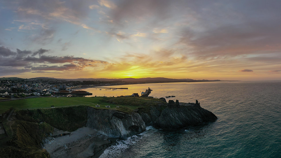 Aerial Panoramic Sunset over Black castle