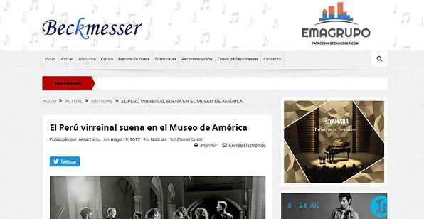 El Perú virreinal suena en el Museo de América | Beckmesser