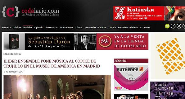 Íliber Ensemble pone música al Códice Trujillo en el Museo de América en Madrid | Codalario